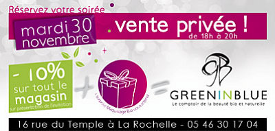 illustration de La Rochelle beauté bio : vente privée mardi 30 novembre 2010 de 18h à 20h !