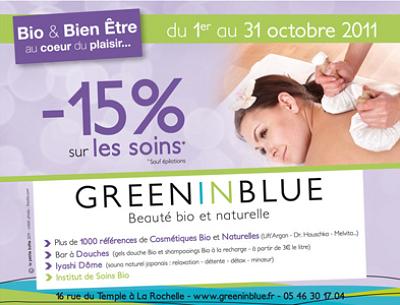 illustration de La Rochelle beauté bio et bien-être : -15% sur les soins* chez Green in Blue du 1er au 31 octobre 2011 !