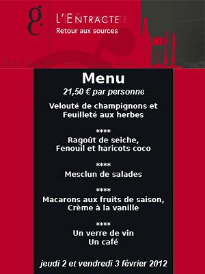 illustration de La Rochelle : l'ardoise du restaurant l'Entracte, le menu des 2 et 3 février 2012