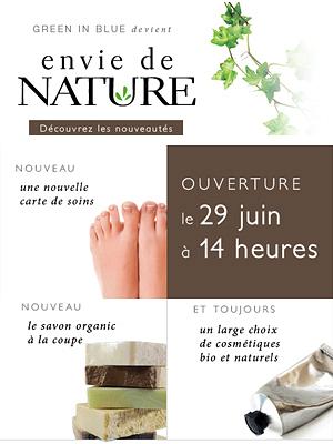 illustration de La Rochelle beauté bio : Green in Blue devient Envie de Nature, réouverture vendredi 29 juin à 14h !