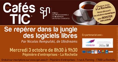 illustration de La Rochelle numérique : café TIC sur les logiciels libres, mercredi 3 octobre 2012 à 8h30 le matin.