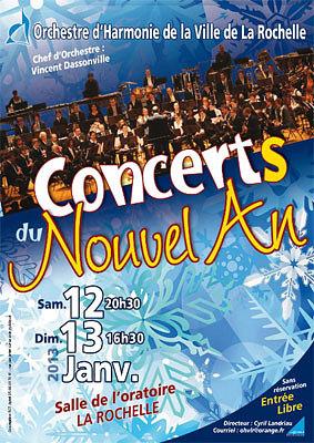 illustration de La Rochelle : concerts du Nouvel An de l'Orchestre d'Harmonie de la Ville, sam 12 et dim. 13 janvier 2013