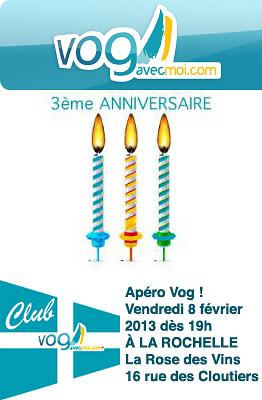 illustration de La Rochelle : 3e anniversaire de vogavecmoi, apéro vendredi 8 février !