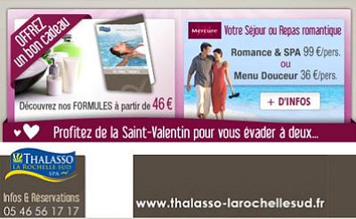 illustration de La Rochelle Sud : séjour romance et spa pour fêter la Saint Valentin du 14 février au 26 avril 2013