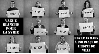 illustration de La Rochelle : vague blanche pour la Syrie, mobilisation citoyenne, vendredi 15 mars 2012 19h-19h30