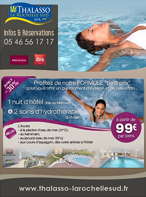 illustration de La Rochelle Sud : 1 nuit d'hôtel et 2 soins d'hydrothérapie à partir de 99€ par personne !
