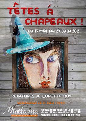 illustration de La Rochelle exposition : Têtes à chapeaux ! Chez Matlama jusqu'au 29 juin 2013, vernissage le 13