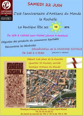 illustration de Artisans du Monde La Rochelle : 10e anniversaire de la boutique de commerce équitable, samedi 22 juin 2012