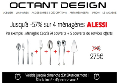 arts de la table design couverts m nag res alessi offre promo du dimanche jusqu 39 au 7. Black Bedroom Furniture Sets. Home Design Ideas