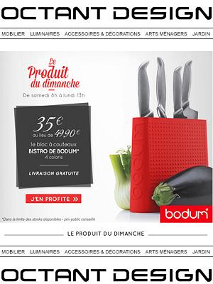 illustration de La Rochelle : Art de la table et culinaire, Bloc couteau Bodum en promo ce week-end