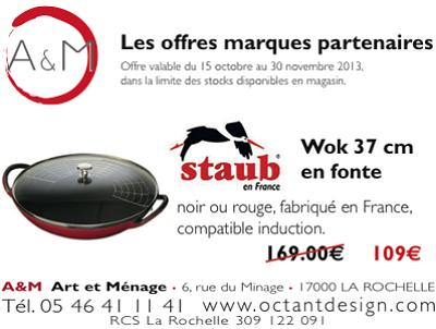 illustration de La Rochelle : work Staub en promo chez A&M jusqu'au 30 novembre 2013