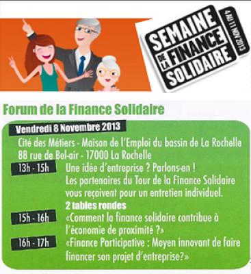 illustration de Forum de la finance solidaire à La Rochelle, vendredi 8 novembre 2013