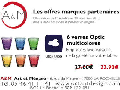illustration de Idées cadeaux La Rochelle : art de la table, verres Optic multicolores Leonardo en promo jusqu'au 30 novembre 2013