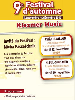 illustration de Festival d'automne La Rochelle Agglo : Klezmer Music, mardi 19 nov. 2013 à Nieul-sur-Mer