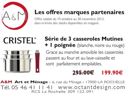 illustration de La Rochelle culinaire et art de la table : cadeaux de Noël 2013, dernier jour de promo chez A&M, samedi 30 nov. 2013 !