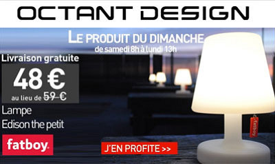 illustration de La Rochelle - France : promo design sur la lampe Edison The Petit 2.0 de Fatboy chez octandesign.com