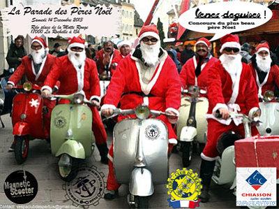 illustration de La Rochelle : parade des pères Noël du Vespa club des Pertuis , samedi 14 décembre 2013