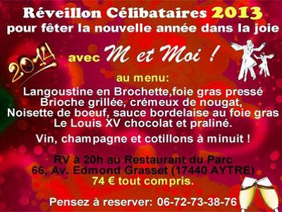 illustration de Agglo de La Rochelle : réveillon pour les célibataires de Charente-Maritime à Aytré le 31 décembre 2013