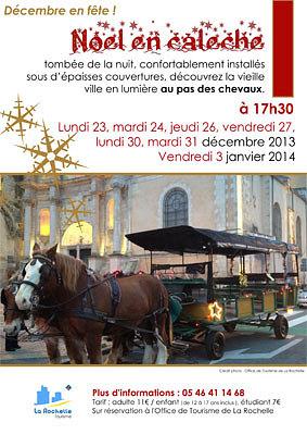 illustration de Noël en calèche avec l'Office de tourisme de La Rochelle, fin décembre 2013 et le 3 janvier 2014