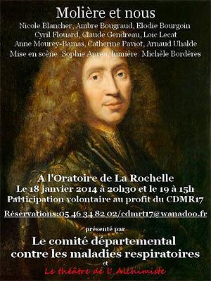 illustration de Molière et nous à La Rochelle avec le Théâtre de l'Alchimiste au profit de la lutte contre les maladies respiratoires, sam. 18 et dim. 19 janvier 2014