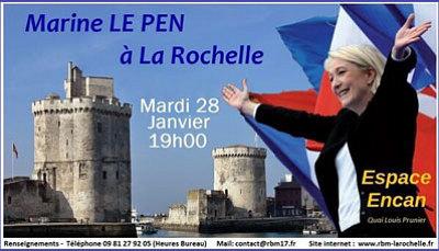 illustration de La Rochelle : Marine Le Pen, présidente du F.N en réunion publique à l'Espace Encan, mardi 28 janvier 2014