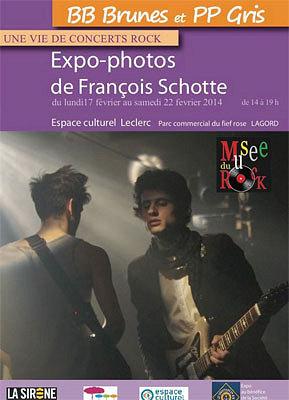 illustration de Expo La Rochelle Lagord : BB Brunes et PP gris, photos rock de François Schotte du 17 au 22 février 2014