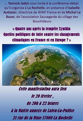 illustration de La Rochelle : lutter contre les changements climatiques, 4 ans après Xynthia, conférence avec Yannick Jadot et Isabelle Autissier, jeudi 20 février 2014
