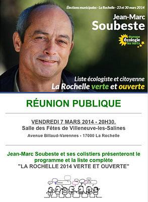 illustration de La Rochelle verte et ouverte 2014 : réunion publique, vendredi 7 mars à Villeneuve et liste complète.