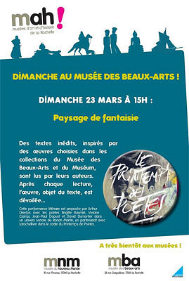 illustration de La Rochelle : un dimanche au musée des Beaux-Arts avec le Printemps des poètes, le 23 mars 2014 à 15h