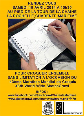 illustration de La Rochelle : 43e Marathon mondial du croquis ; Sketchcrawl 2014, rendez-vous samedi matin 19 avril