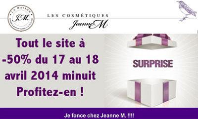 illustration de La Rochelle - France cosmétiques : -50% sur le site jeanne-m.com jusqu'au 18 avril à minuit !