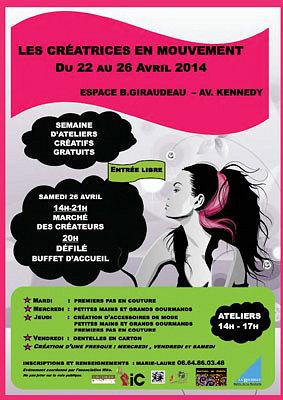 illustration de Créatrices en mouvement à La Rochelle : ateliers gratuits du 22 au vendredi 25 avril ; marché des créateurs et défilé de mode, samedi 26 avril 2014