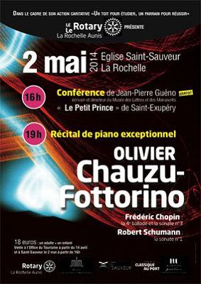 illustration de Récital de piano à La Rochelle : Olivier Chauzu-Fottorino joue Chopin  et Schumann, vendredi 2 mai 2014
