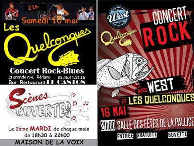 illustration de Les Quelconques en concert : samedi 10 mai à Périgny, vendredi 16 à La Rochelle, scène ouverte mardi 13 mai 2014