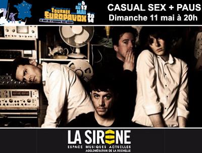 illustration de Festival Europavox à La Rochelle : La Sirène reçoit Paus de Lisbonne et Casual Sex de Glascow, dimanche 11 mai à 20h
