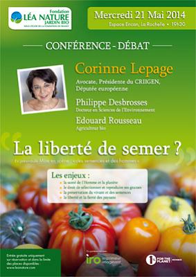 illustration de Corine Lepage à La Rochelle : débat sur la liberté de semer avec de la fondation Léa Nature Jardin Bio, mercredi 21 mai 2014