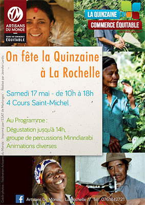 illustration de La boutique Artisans du Monde La Rochelle fête la Quinzaine du commerce équitable, samedi 17 mai 2014