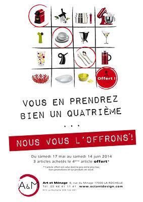illustration de La Rochelle cuisine et arts de la table : 3 achetés, le 4e produit offert à la boutique A&M jusqu'au 14 juin 2014