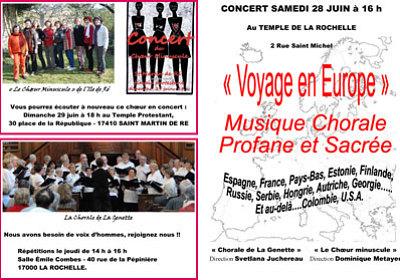 illustration de La Rochelle : la Chorale de La Genette et le Choeur minuscule en concert au Temple, samedi 28 juin à 16h