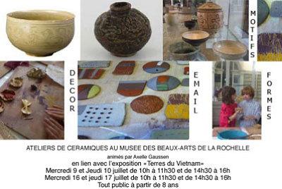 illustration de Ateliers céramique à La Rochelle au musée des Beaux Arts, 9-10 16-17 juillet 2014