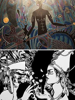 illustration de Exposition à La Rochelle : dessins de Pierre-Loup Auger ; toiles de Julien Calot, derniers jours au Cloître des Dames Blanches jeudi 21 et vendredi 22 août 2014
