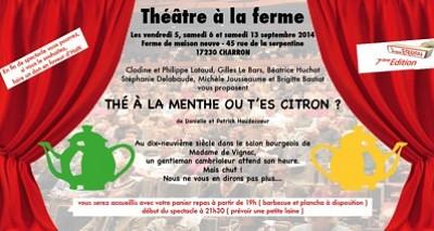 illustration de région de La Rochelle : théâtre à la ferme à Charron les 5,6 et 13 septembre 2014