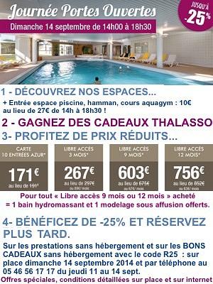 illustration de Thalasso La Rochelle Sud : portes ouvertes dimanche 14 septembre 2014, profitez des offres pour une rentrée bien-être, forme et beauté !