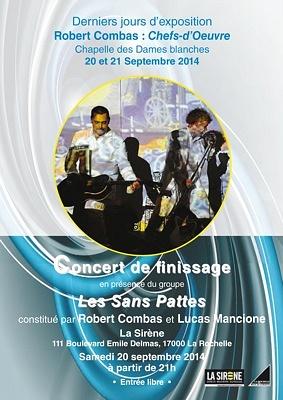 illustration de Les Sans Pattes à La Rochelle : concert de finissage de l'expo Combas, samedi 20 septembre 2014, entrée libre à La Sirène !