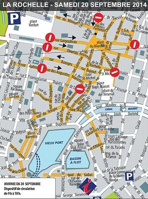 illustration de La Rochelle apaisée au centre-ville : zone piétonne autour du marché et port piéton, samedi 20 septembre 2014