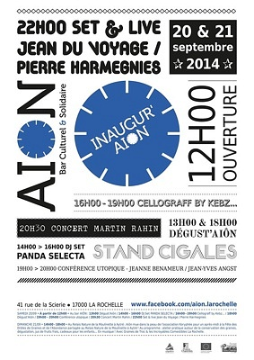 illustration de Aiôn La Rochelle : week-end inaugural du bar culturel et solidaire, samedi 20 et dimanche 21 septembre 2014