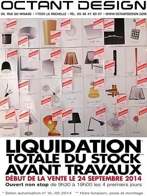 illustration de La Rochelle design : liquidation avant travaux chez Octant Design, ouverture non stop 24-27 septembre 2014