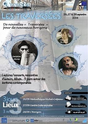 illustration de Les Traversées 2014 à La Rochelle : 3 lieux, 3 jours, 3 rencontres ; textes, lectures, chansons... du 26 eu 28 septembre