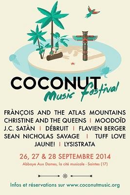 illustration de Concerts en Charente-Maritime : Coconut Music Festival à Saintes du 26 au 28 septembre 2014
