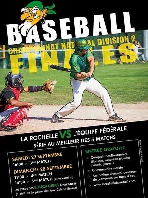 illustration de Baseball à La Rochelle : finales championnat D2 à domicile pour Les Boucaniers samedi 27 et dimanche 28 septembre 2014